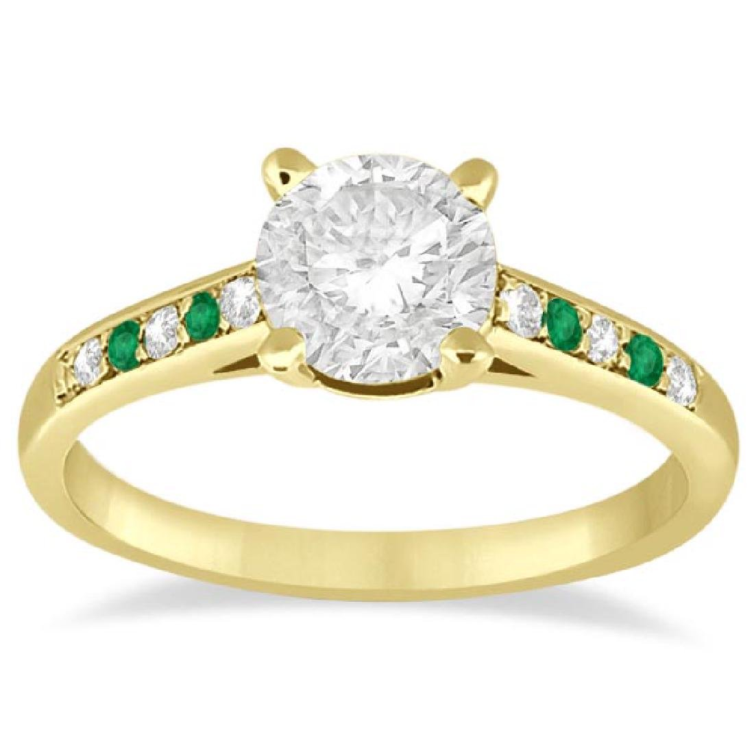 Cathedral Emerald and Diamond Engagement Ring 14k Yello