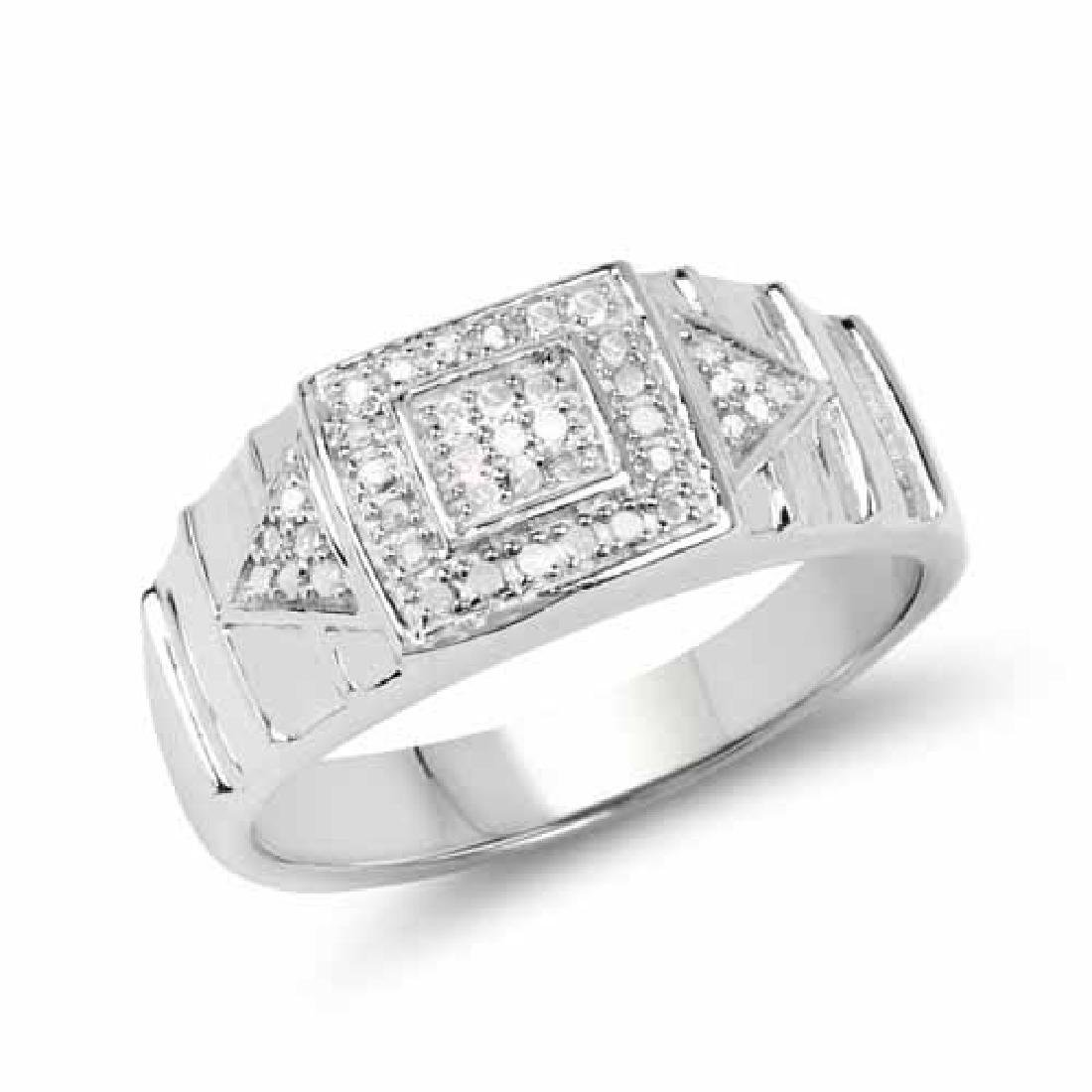 14K White Gold Plated 0.21 Carat Genuine White Diamond