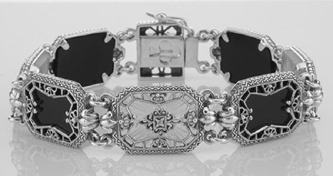 Victorian Style Filigree Bracelet Onyx Camphor Glass /