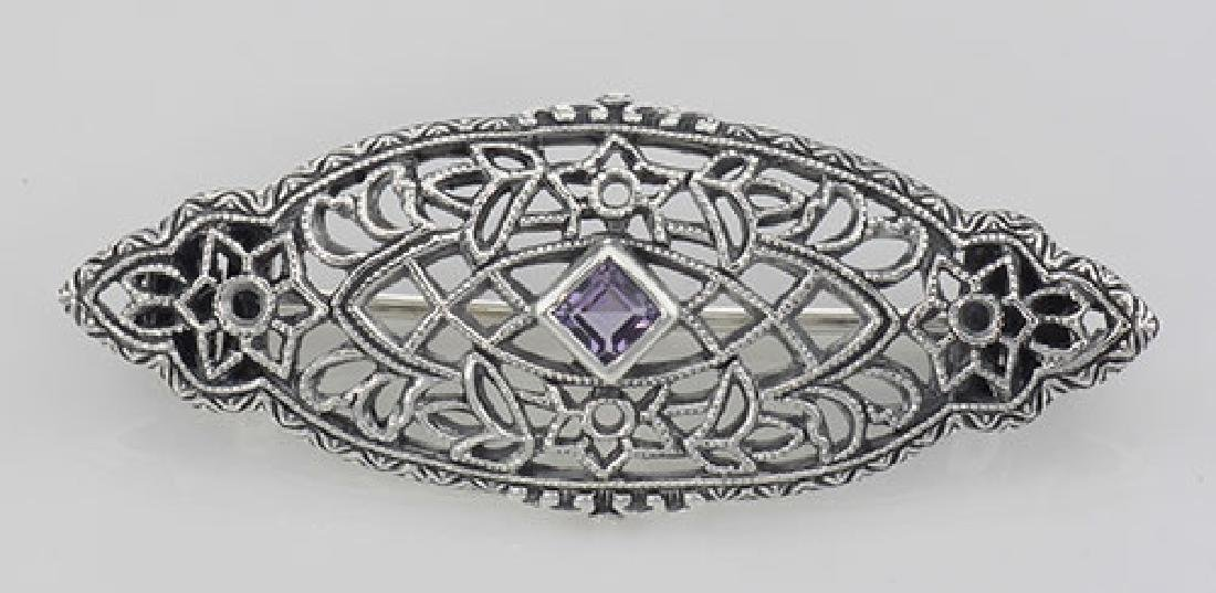 Antique Victorian Style Amethyst Pin / Brooch - Sterlin