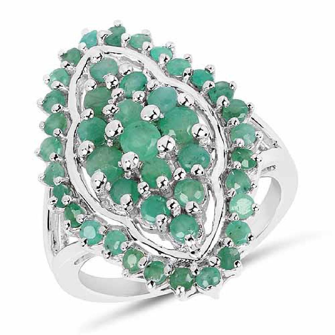 1.74 Carat Genuine Emerald .925 Sterling Silver Ring