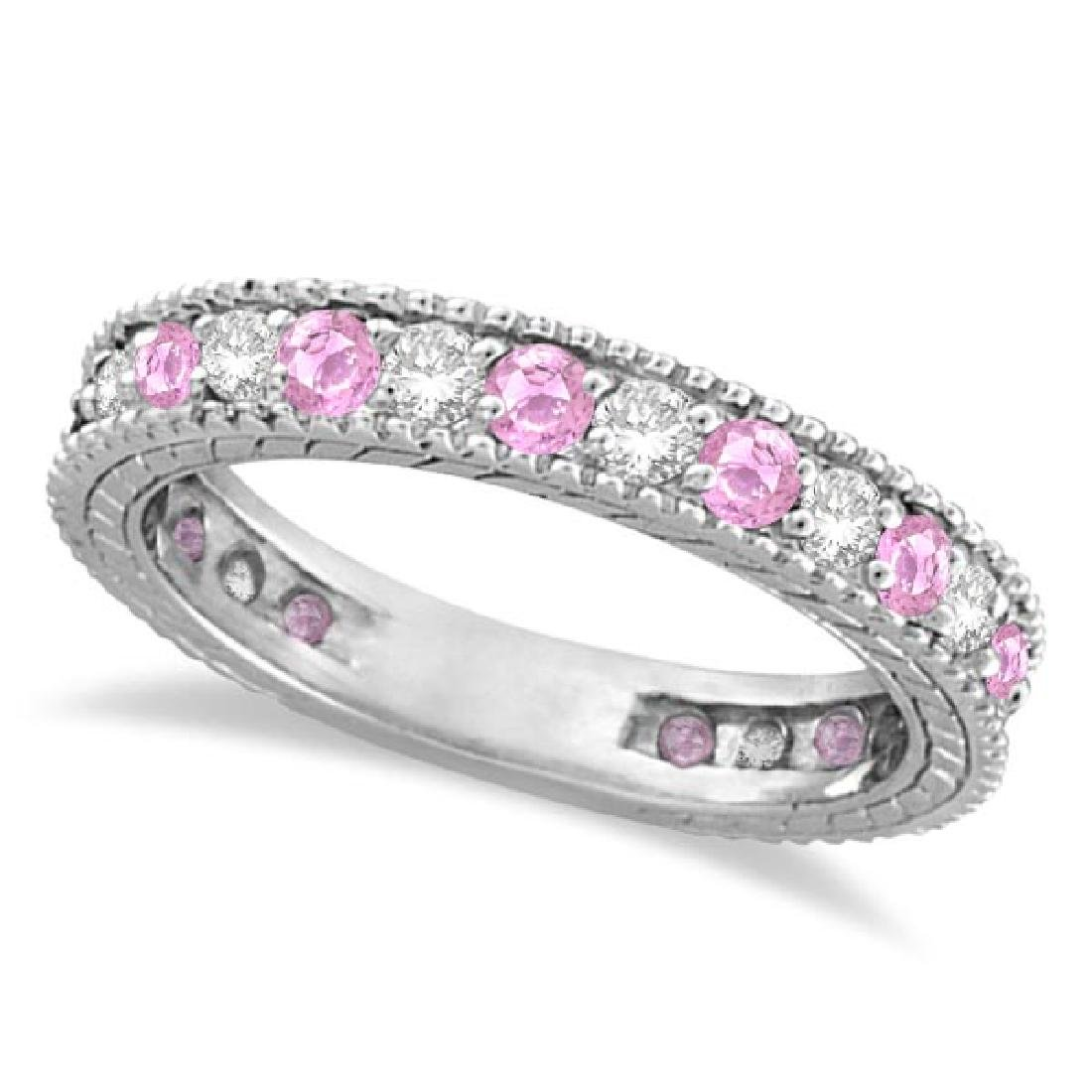 Diamond and Pink Sapphire Ring Anniversary Band 14k Whi