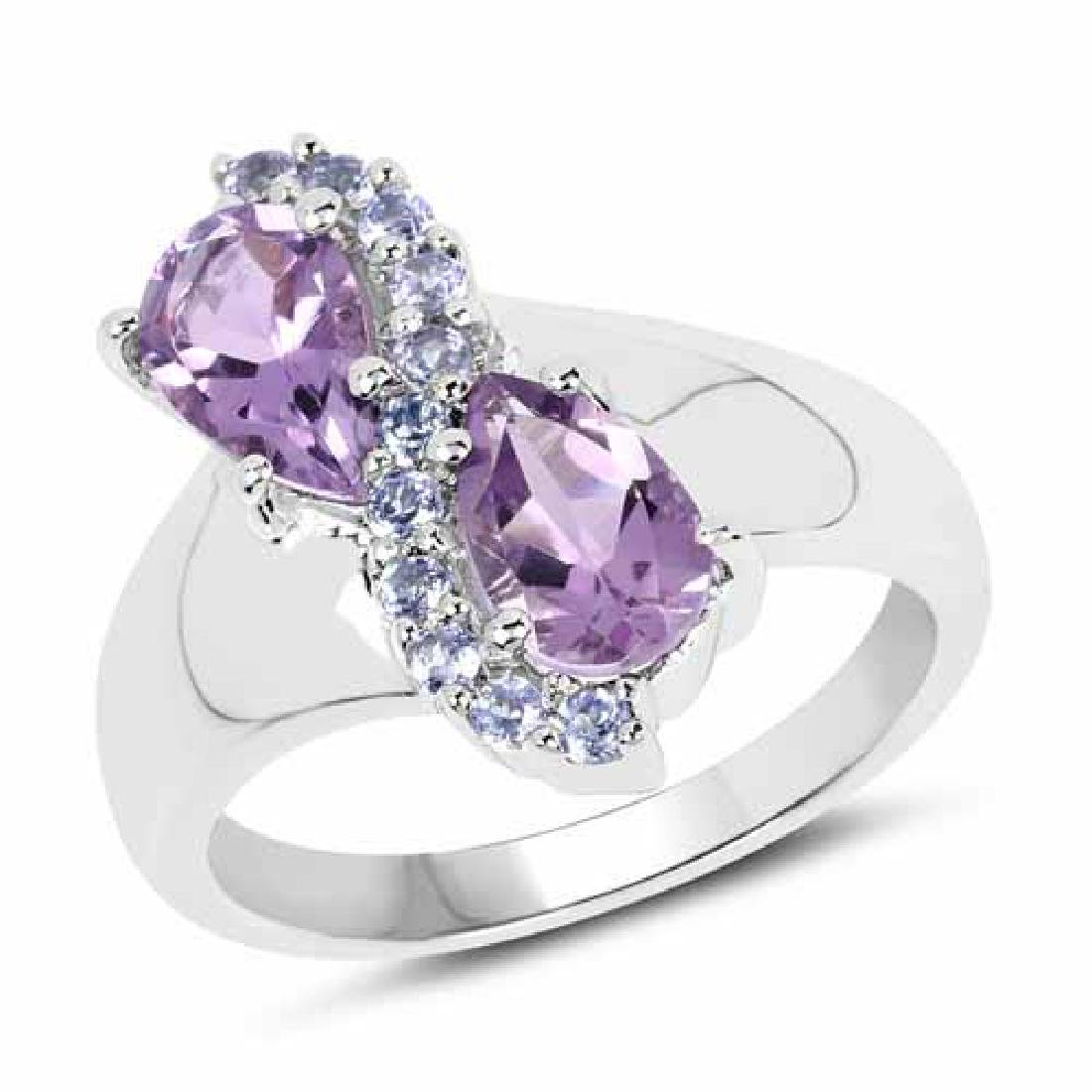 1.87 Carat Genuine Amethyst and Tanzanite .925 Sterling