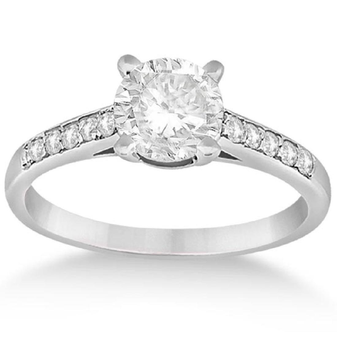 Cathedral Pave Diamond Engagement Ring 18k White Gold