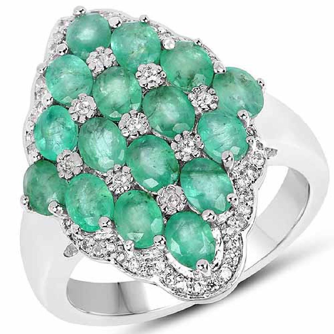 2.68 Carat Zambian Emerald and White Zircon .925 Streli
