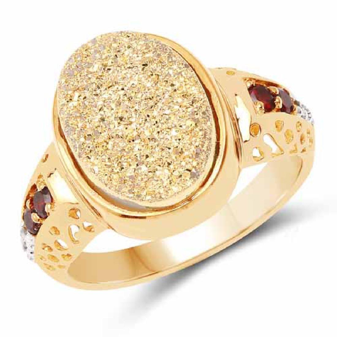 14K Yellow Gold Plated 4.71 Carat Genuine Golden Drusy
