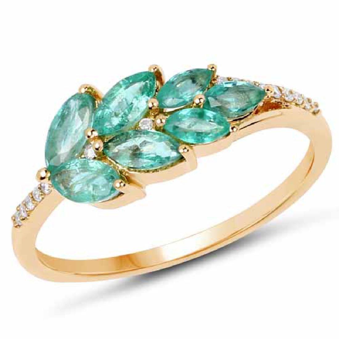 0.69 Carat Genuine Zambian Emerald and White Diamond 14