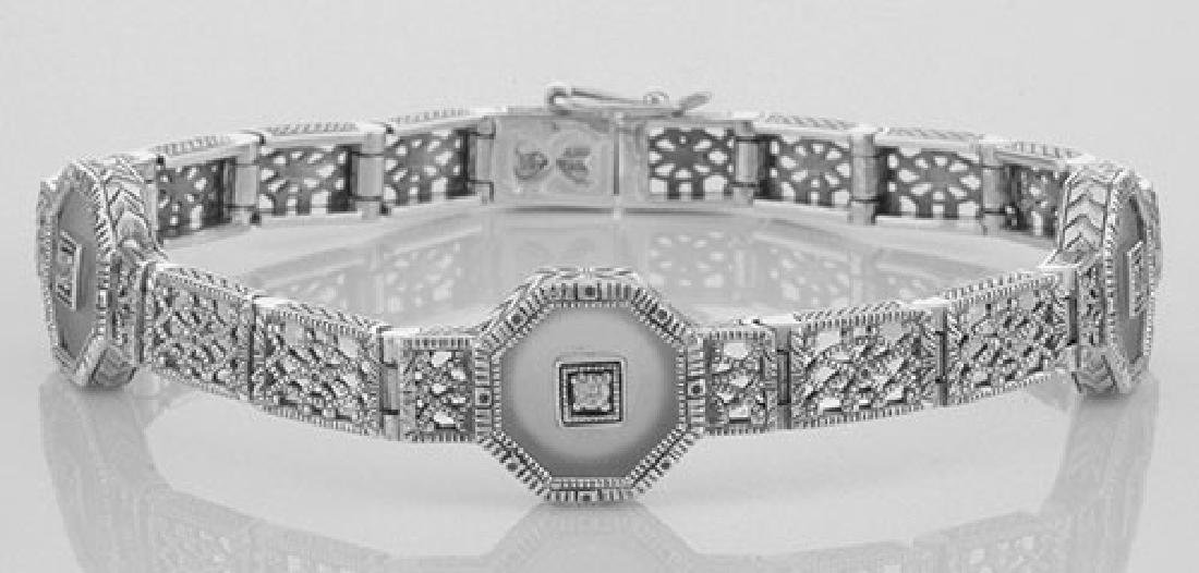 Art Deco Style Camphor Glass Crystal / CZ Filigree Brac