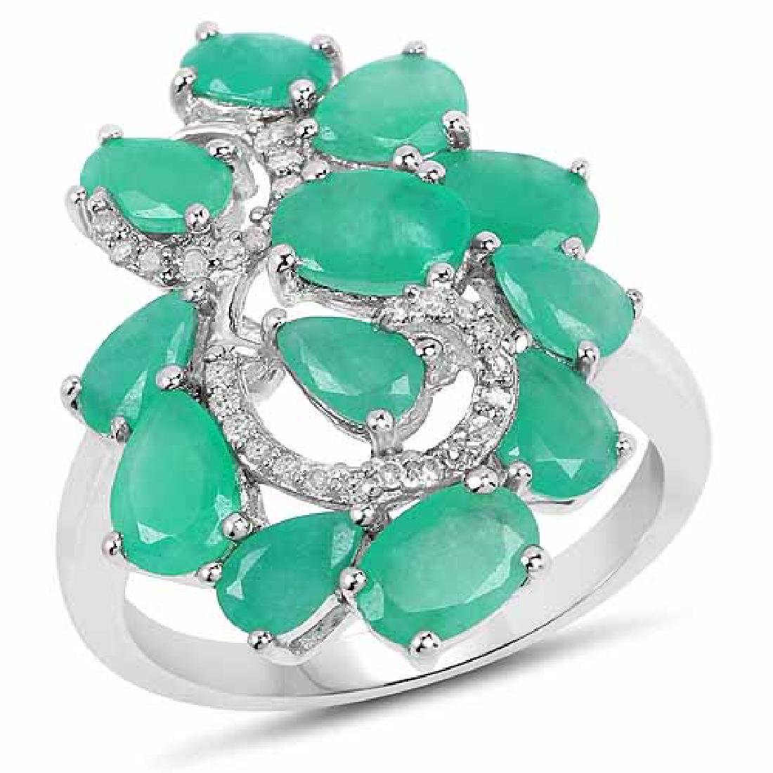 3.57 Carat Genuine Emerald and White Diamond .925 Sterl