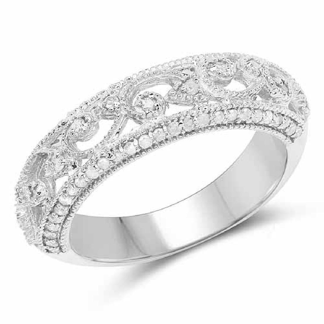 0.36 Carat Genuine White Diamond .925 Sterling Silver R