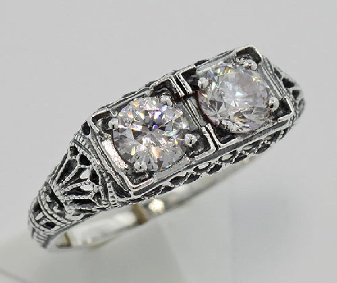 CZ Filigree Ring - Sterling Silver