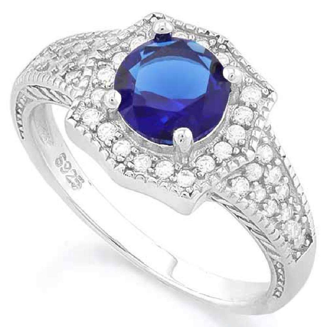 1 1/5 CARAT CREATED BLUE SAPPHIRE & 2/5 CARAT (40 PCS)