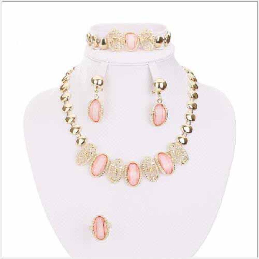 CREATED PINK AGATE 18K GOLD PLATED GERMAN SILVER SET