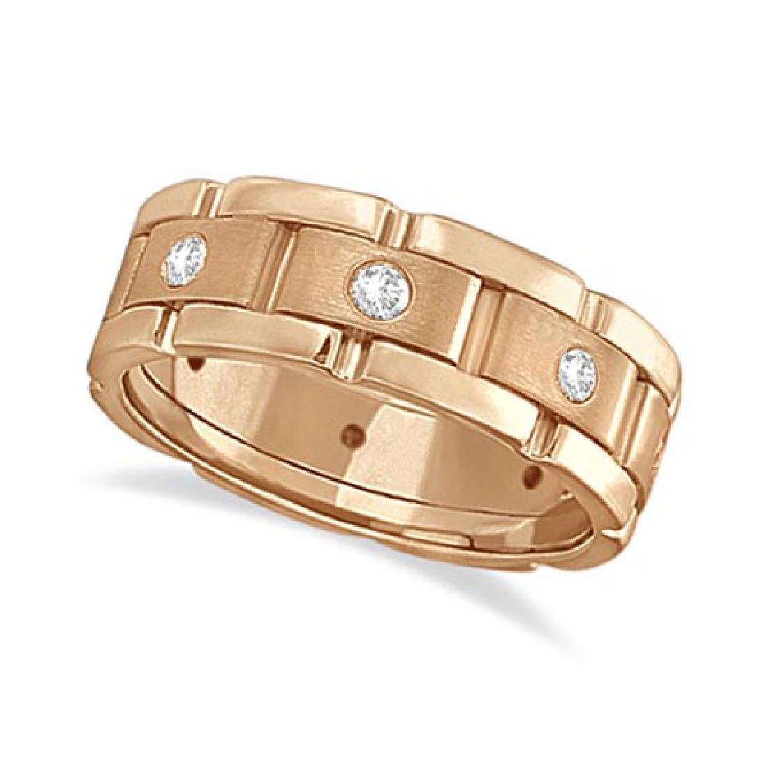 Mens Wide Band Diamond Eternity Wedding Ring 18kt Rose
