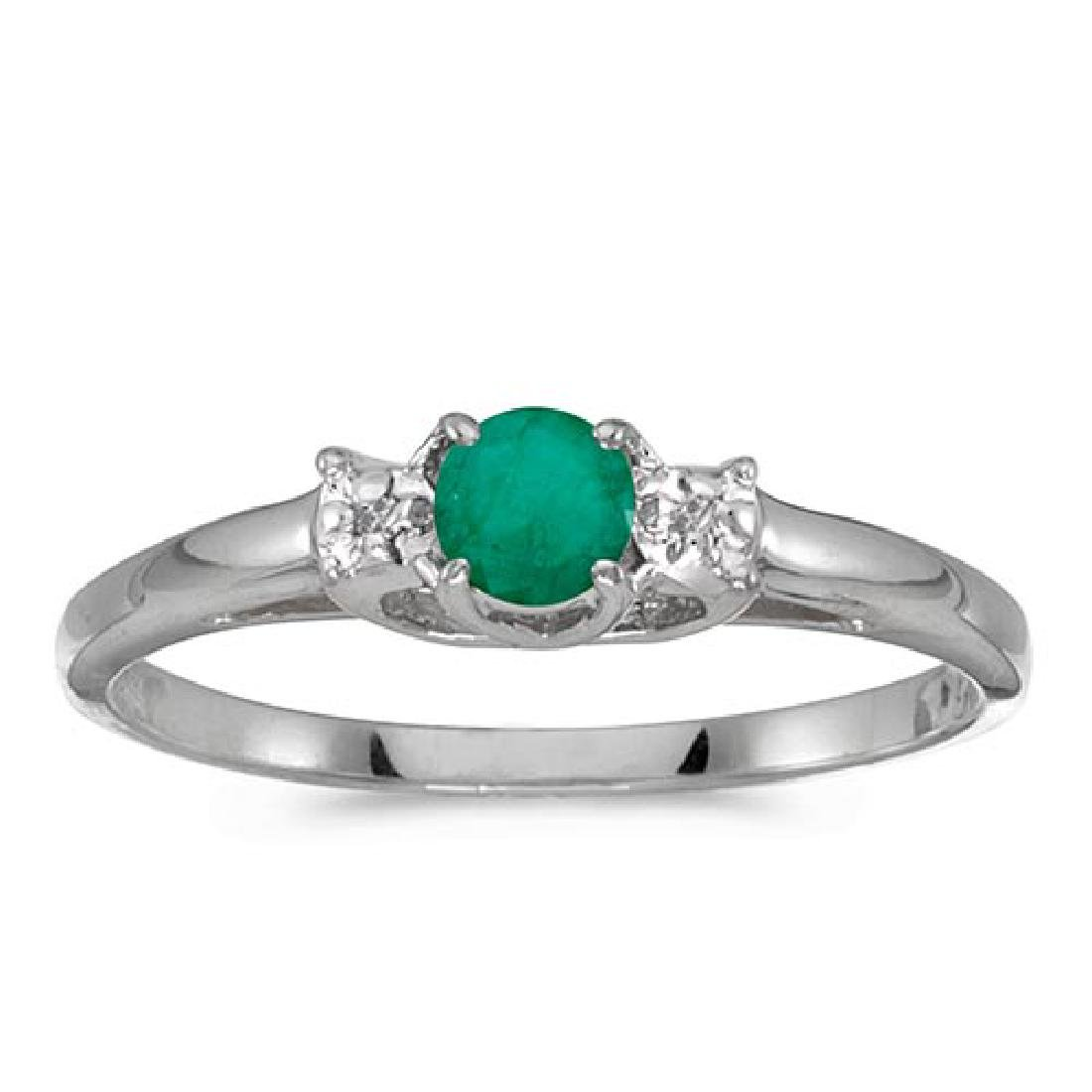 Certified 14k White Gold Round Emerald And Diamond Ring