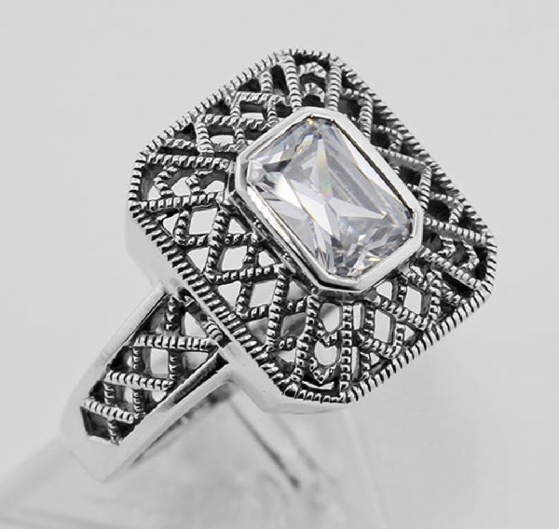 Cubic Zirconia Filigree Ring - Sterling Silver