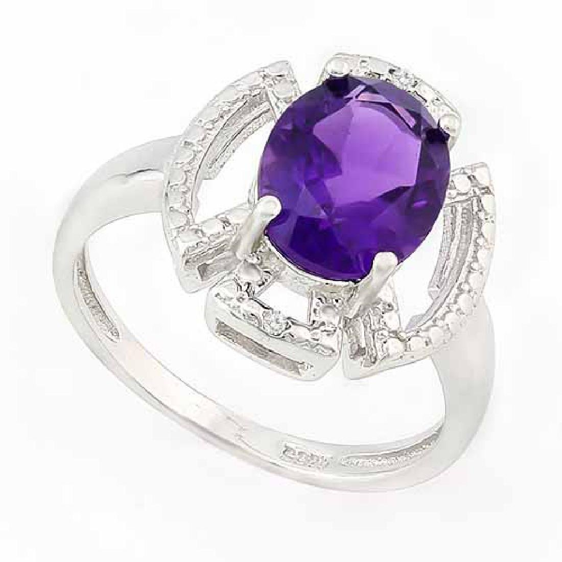 2 1/2 CARAT AMETHYST & GENUINE DIAMONDS 925 STERLING SI