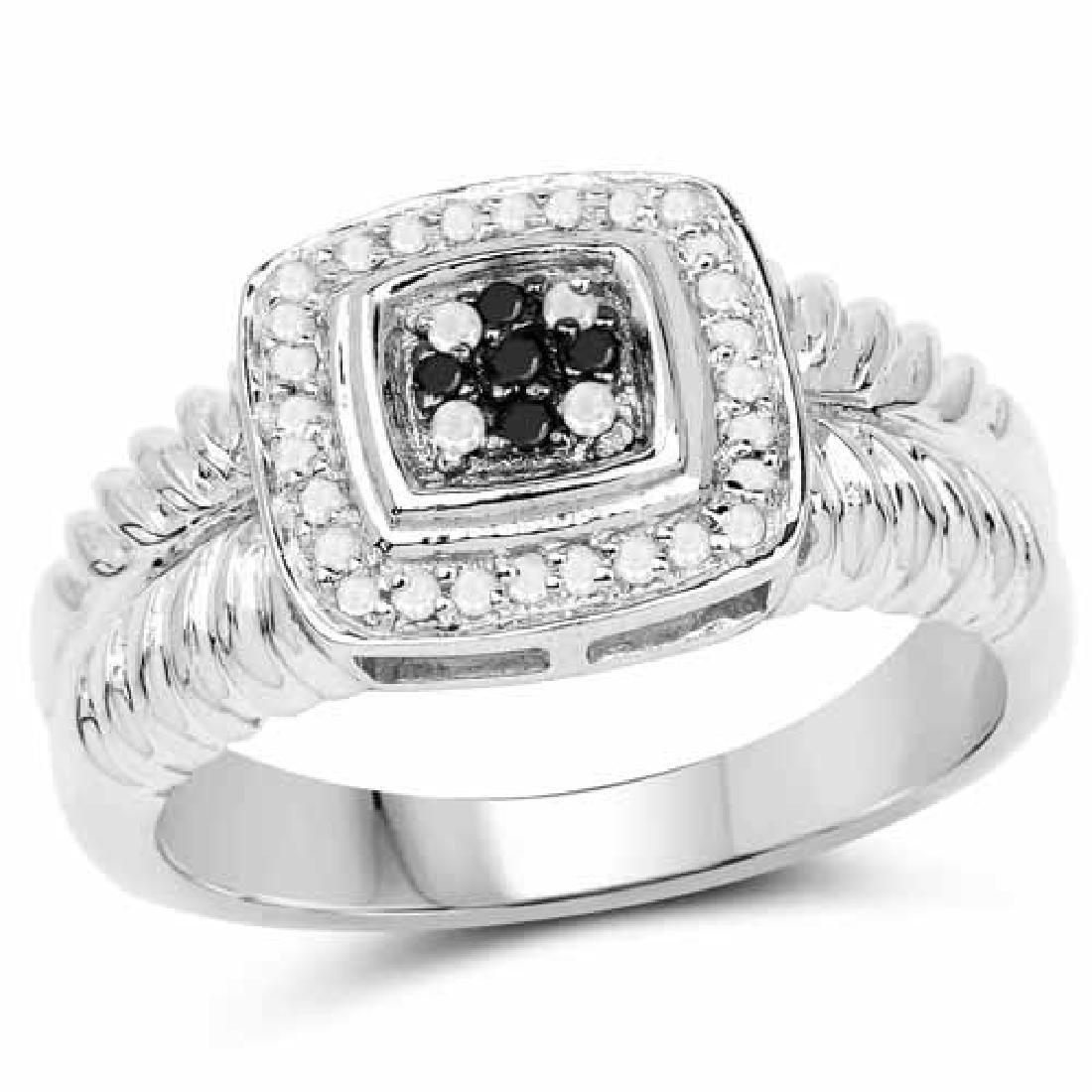 0.19 Carat Genuine Black Diamond and White Diamond .925