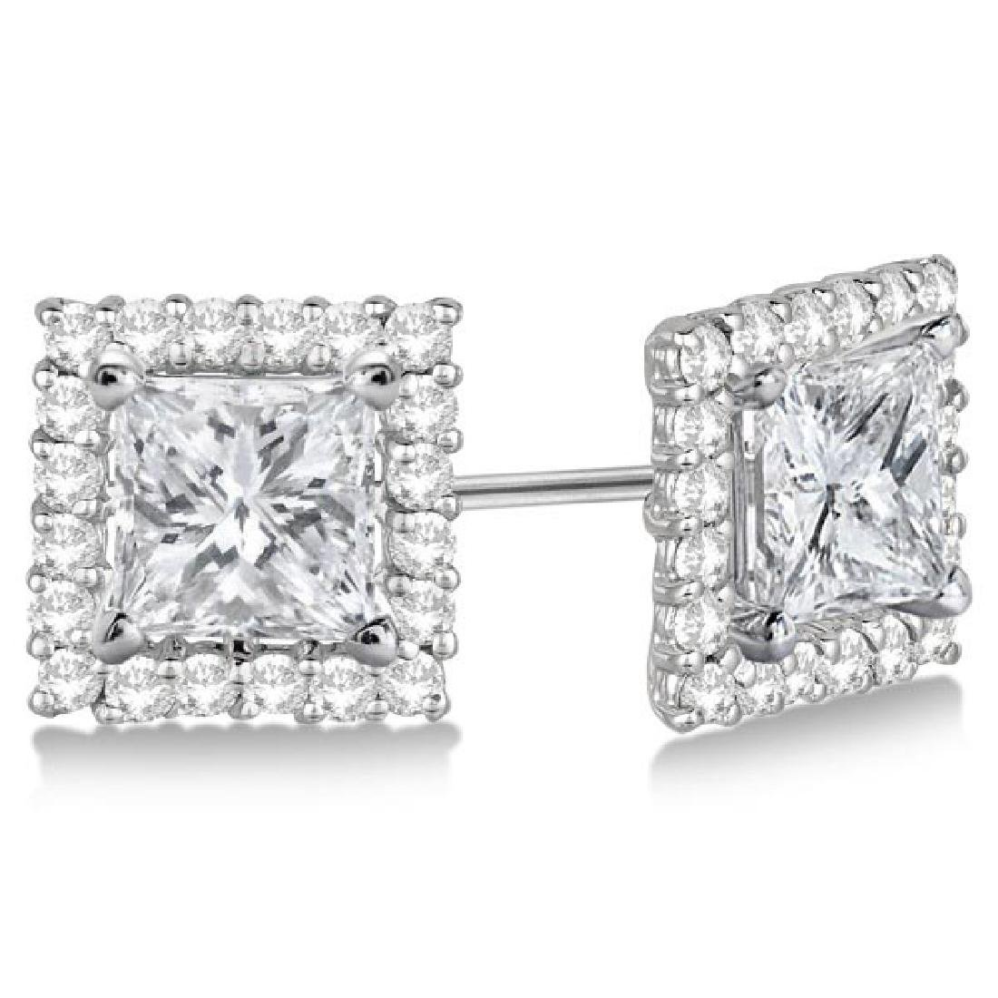 Square Diamond Earring Jackets Pave-Set 14k White Gold