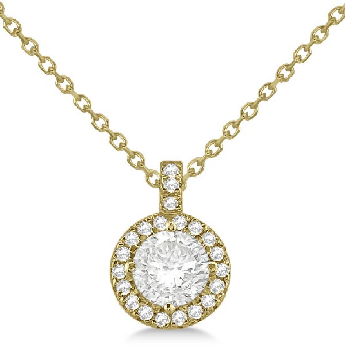 Diamond Halo Pendant Necklace Round Solitaire 14k Yello