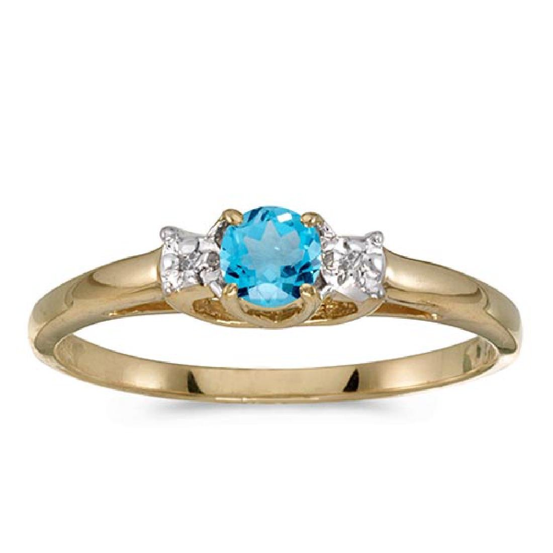 Certified 14k Yellow Gold Round Blue Topaz And Diamond