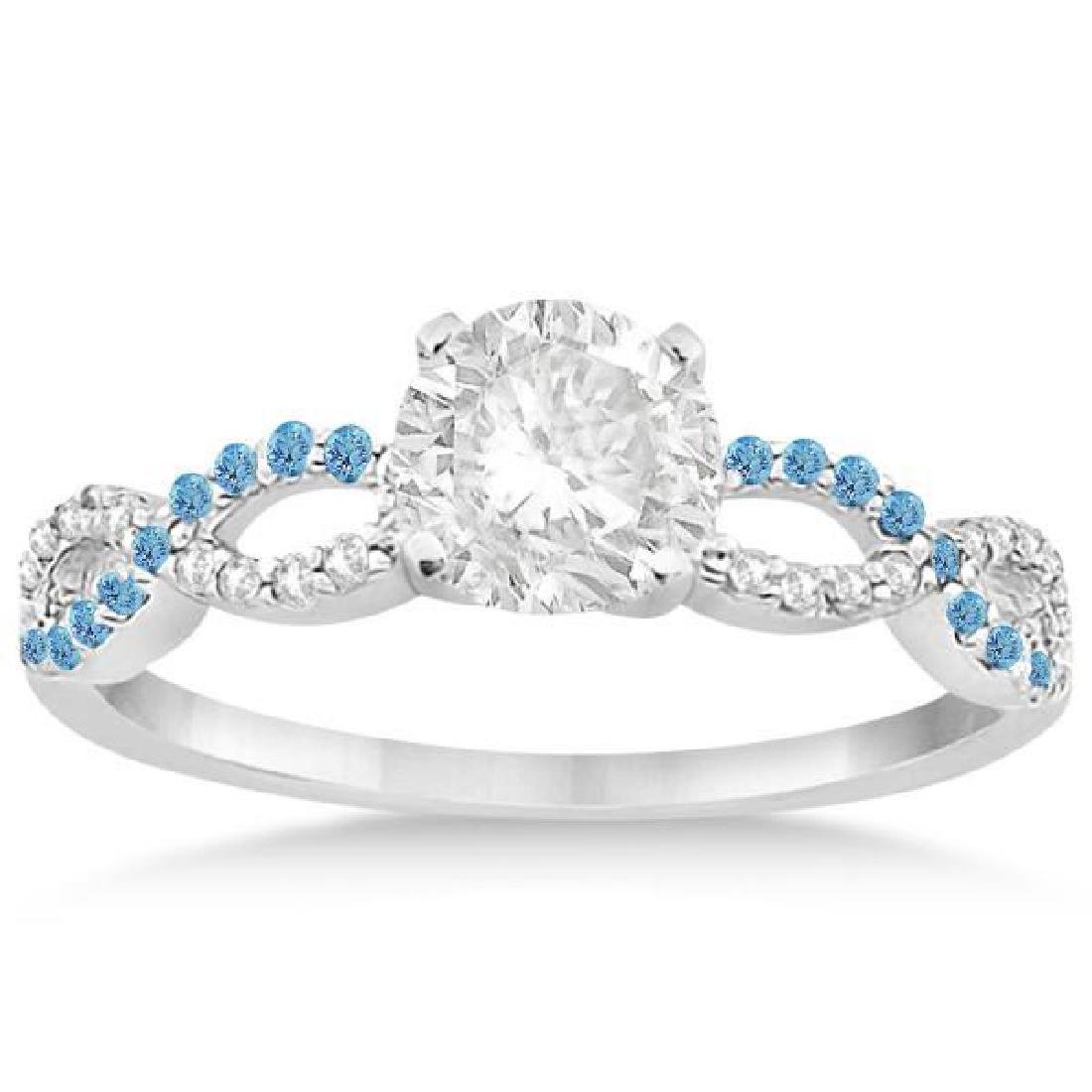 Infinity Diamond and Blue Topaz Engagement Ring in 14k
