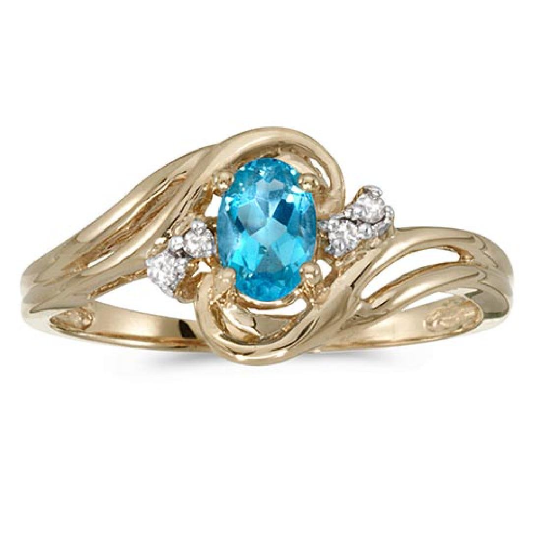 Certified 14k Yellow Gold Oval Blue Topaz And Diamond R