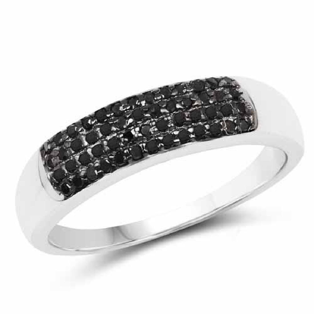 0.22 Carat Genuine Black Diamond .925 Sterling Silver R