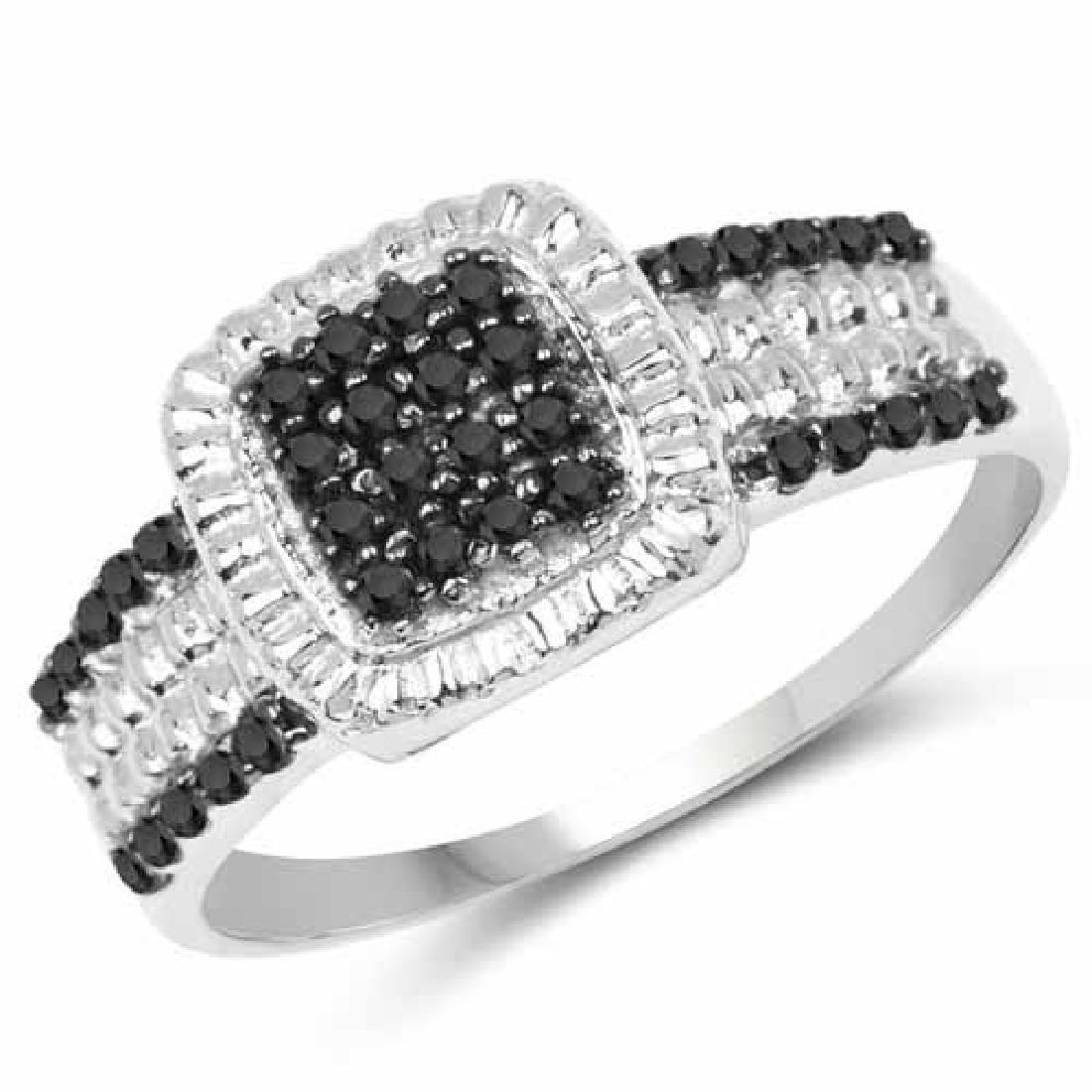 0.30 Carat Genuine Black Diamond and White Diamond .925