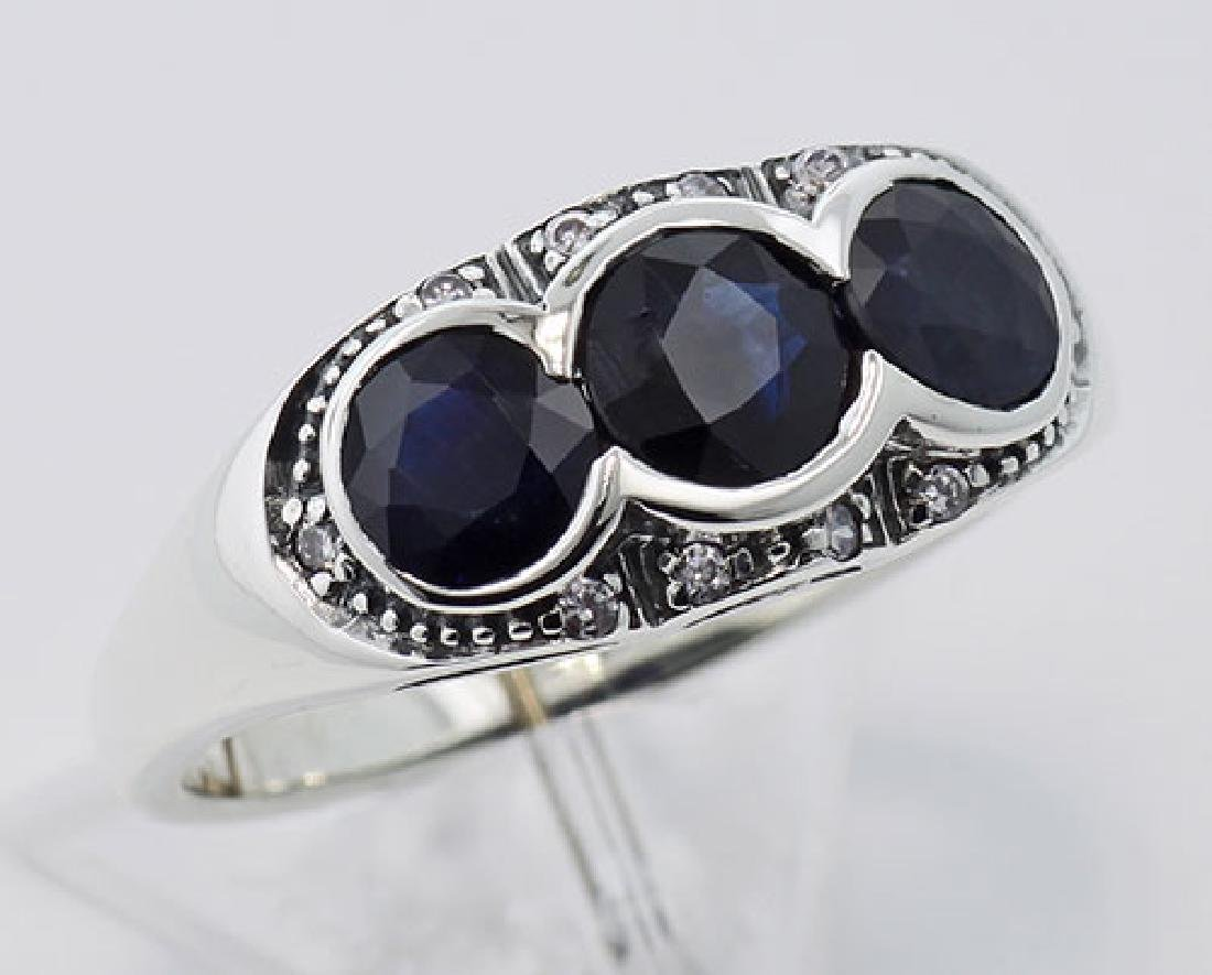 Lovely Art Deco Style Ring w/ Sapphires & Diamonds Ster