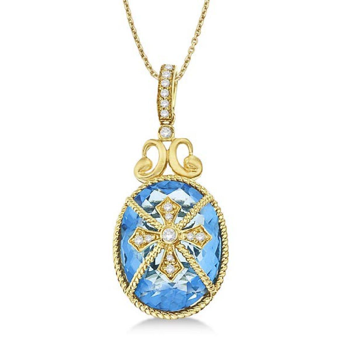 Blue Topaz and Diamond Byzantine Pendant Necklace 14k Y