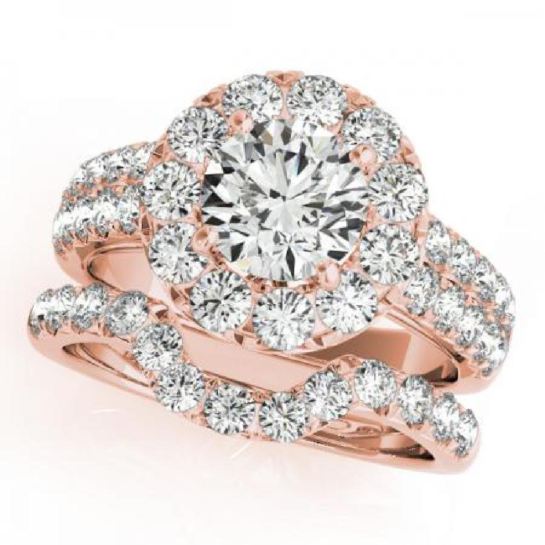 CERTIFIED 14KT ROSE GOLD 1.11 CT G-H/VS-SI1 DIAMOND HAL