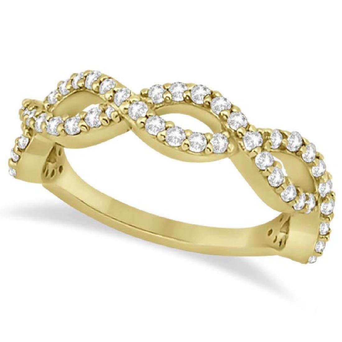 Twisted Infinity Semi-Eternity Diamond Band 14k Yellow