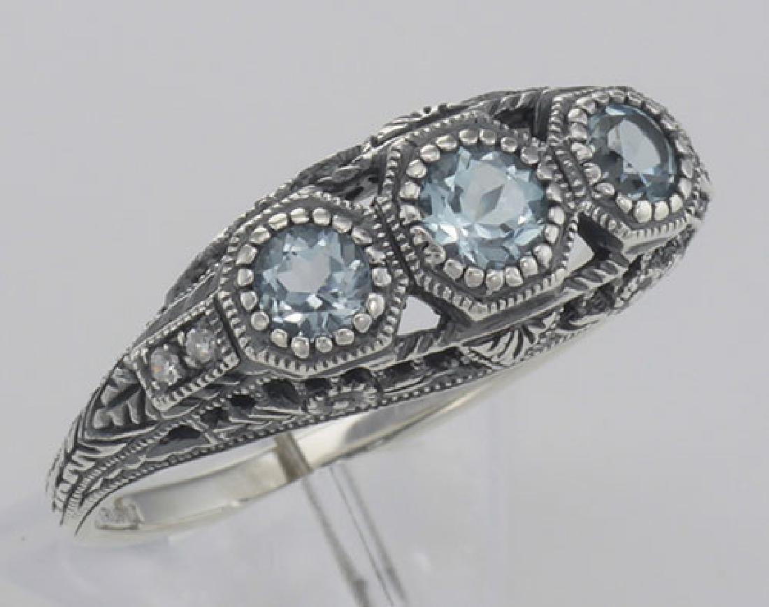 Art Deco Style Blue Topaz Filigree Ring w/ 4 Diamonds -
