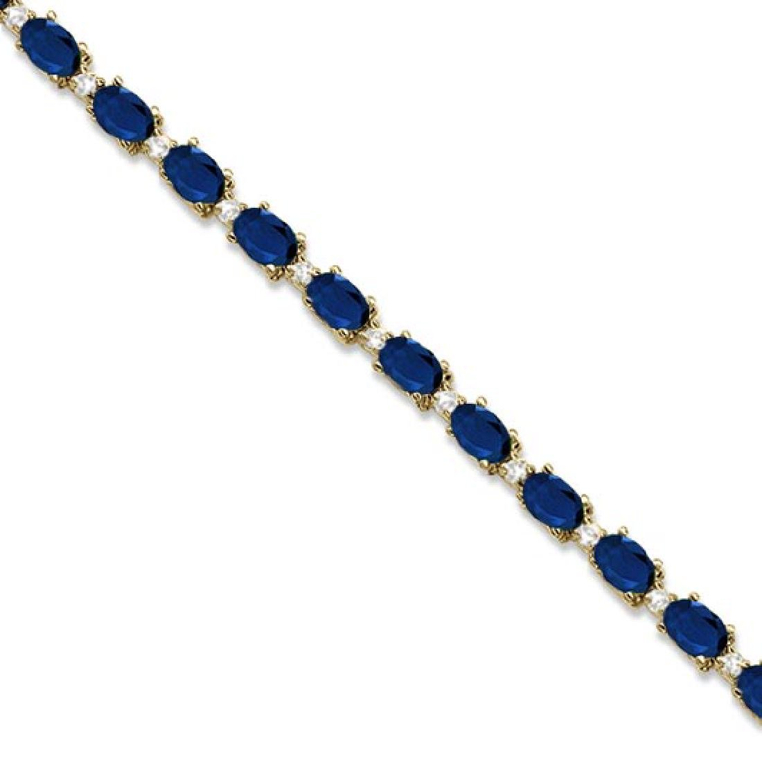 Blue Sapphire and Diamond Tennis Bracelet 14k Yellow Go