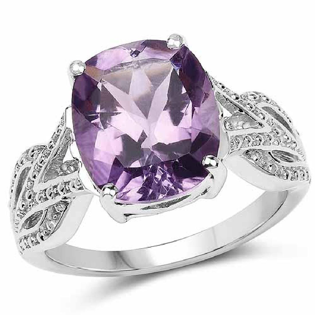 4.20 Carat Genuine Amethyst .925 Sterling Silver Ring