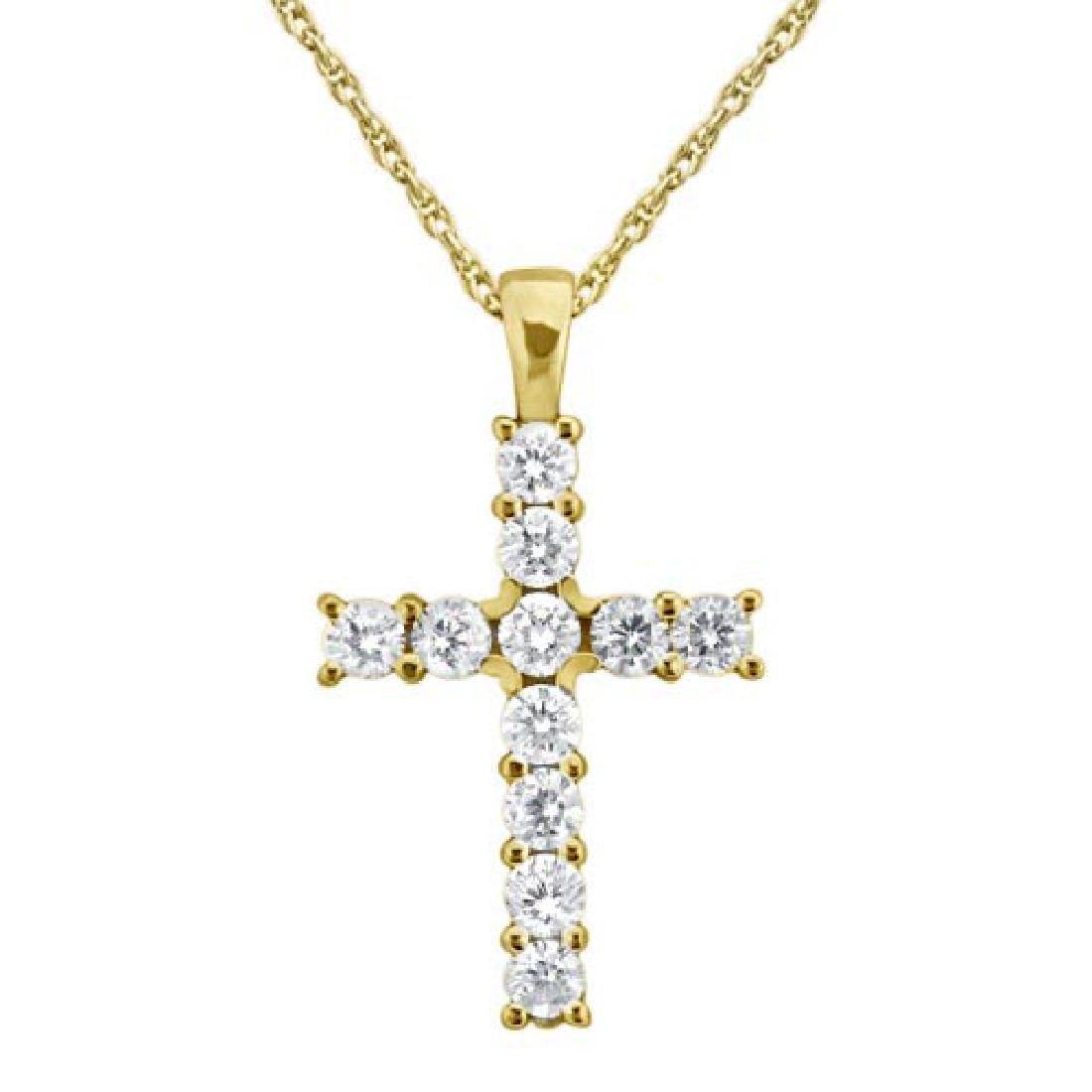 Prong-Set Diamond Cross Pendant Necklace 14k Yellow Gol