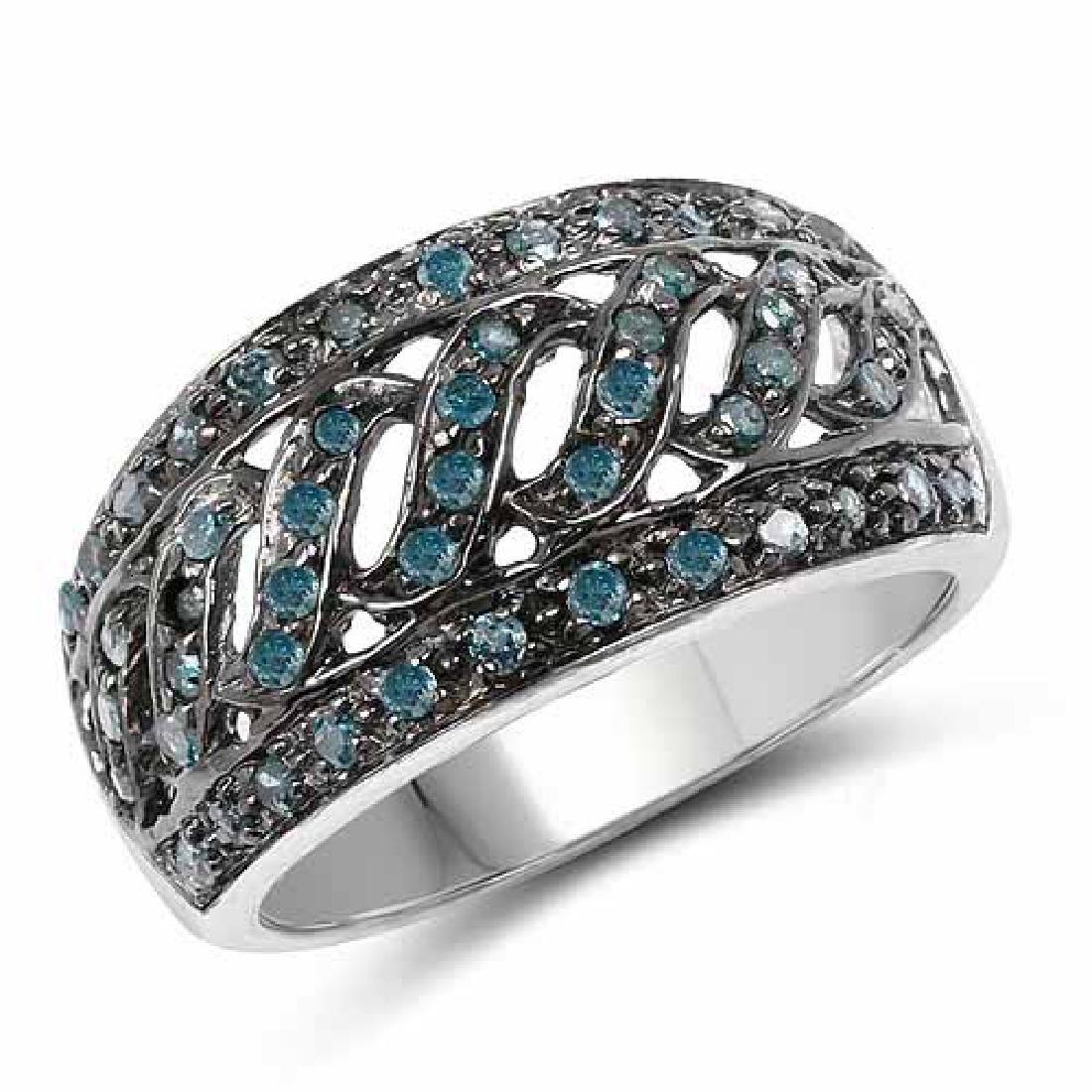 0.60 Carat Genuine Blue Diamond .925 Sterling Silver Ri