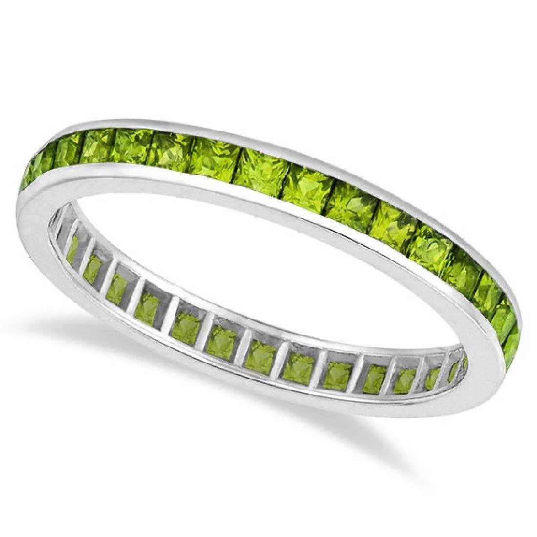 Princess-Cut Peridot Eternity Ring Band 14k White Gold