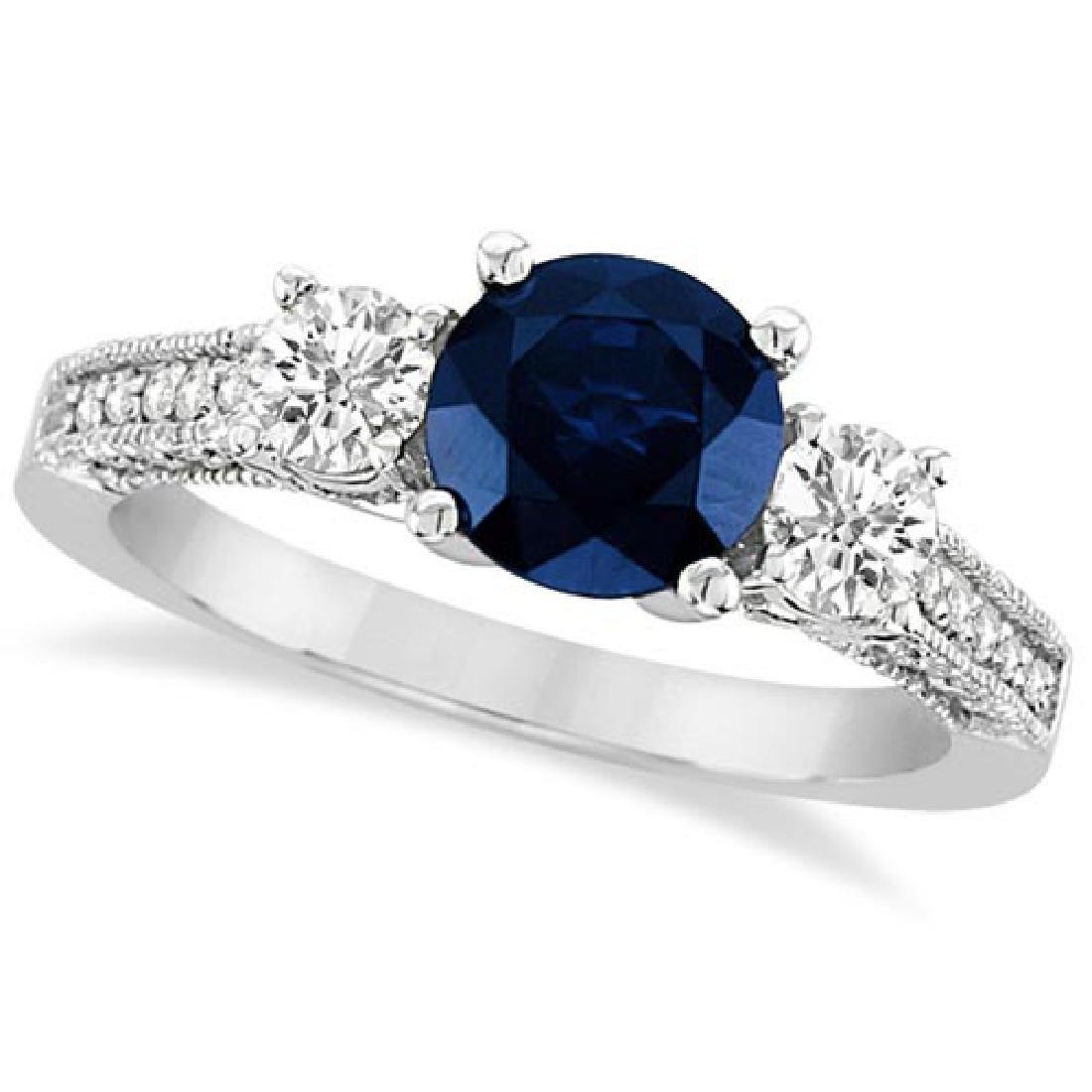 Vintage Milgrain Diamond and Blue Sapphire Ring 14k Whi