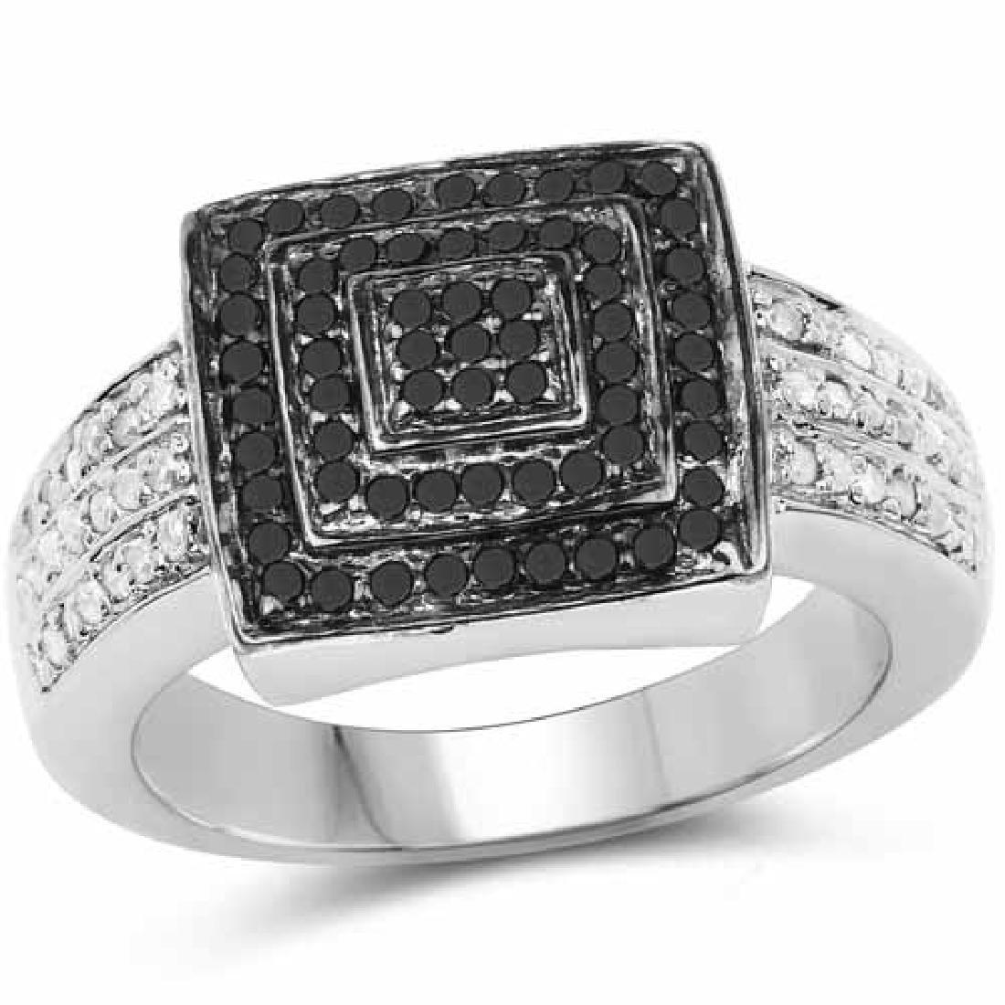 0.55 Carat Genuine Black Diamond and White Diamond .925