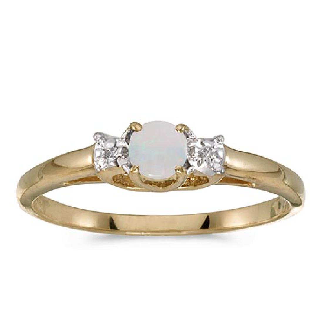 Certified 14k Yellow Gold Round Opal And Diamond Ring 0
