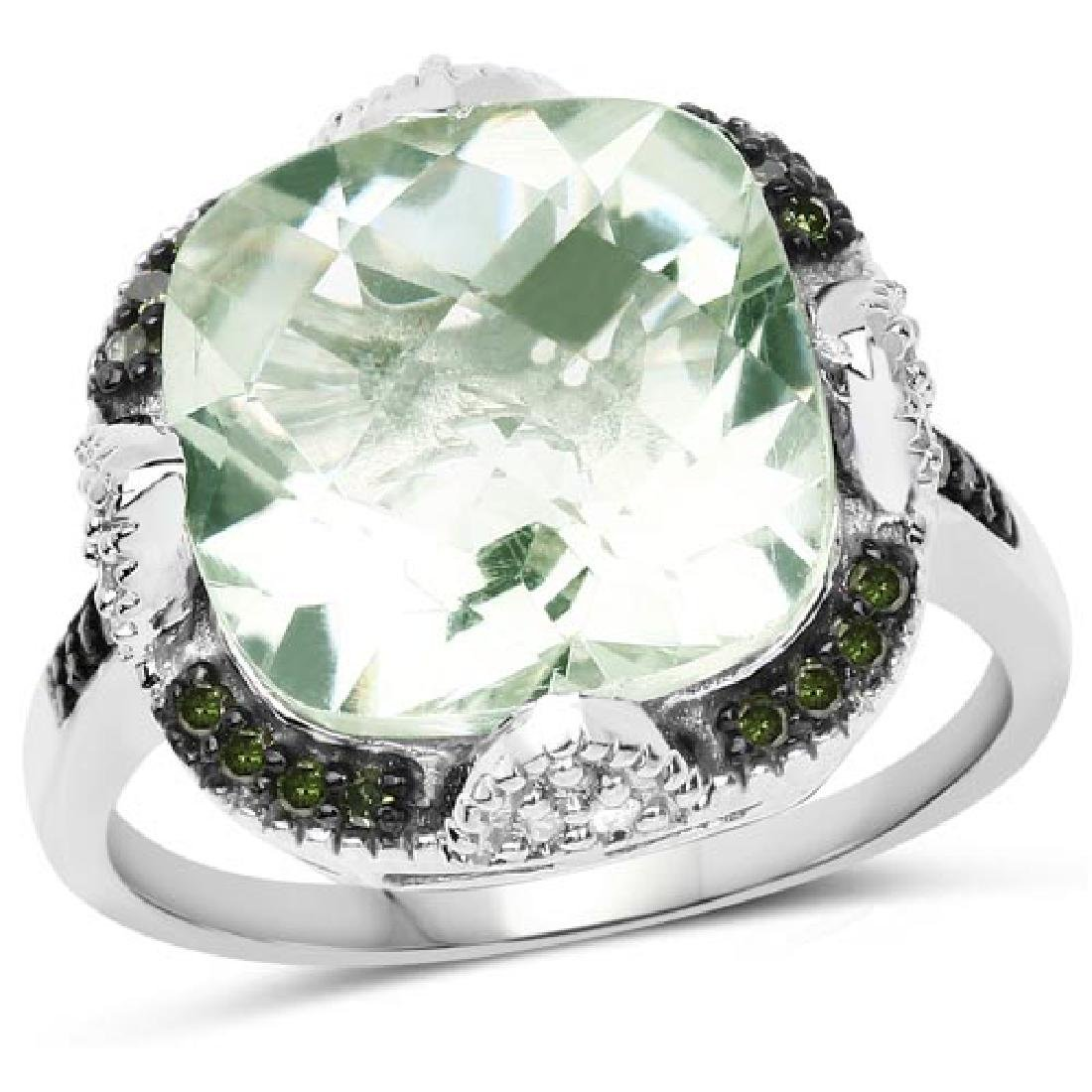6.07 Carat Genuine Green Amethyst Green Diamond and Wh