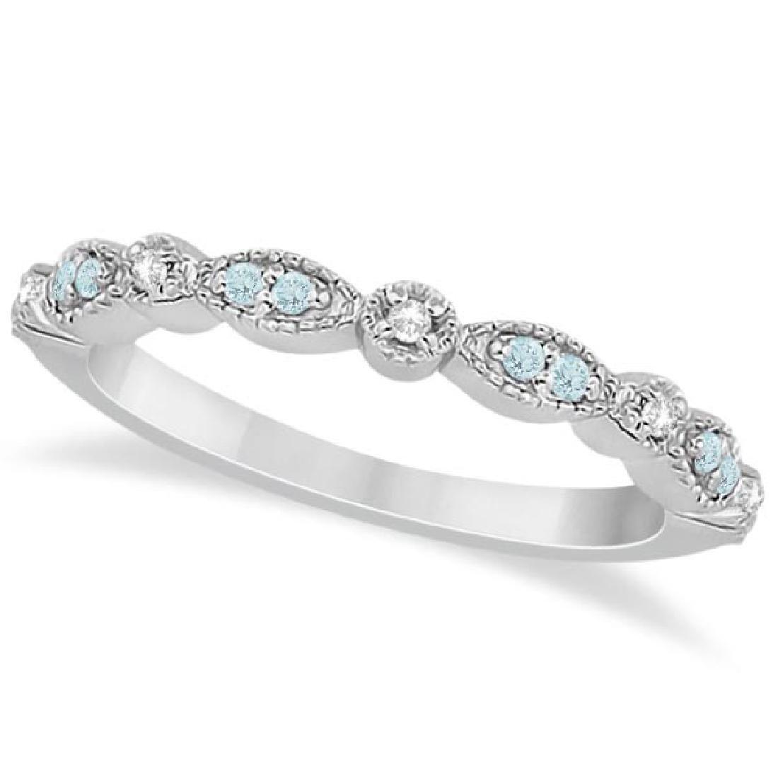 Marquise and Dot Aquamarine Diamond Wedding Band 14k Wh