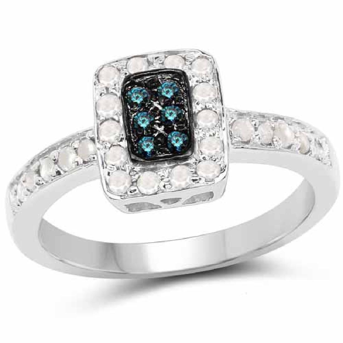 0.36 Carat Genuine Blue Diamond and White Diamond .925