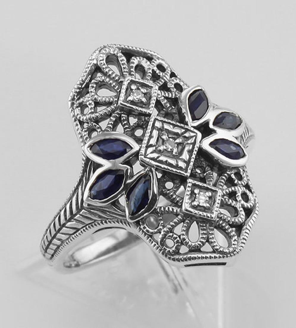 Filigree Ring w/ Sapphire 3 Diamonds - Sterling Silver