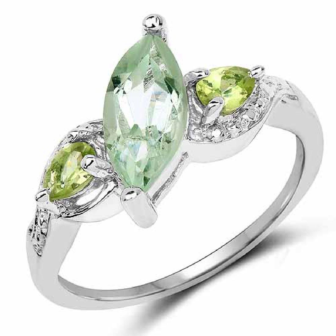 1.32 Carat Genuine Green Amethyst and Peridot .925 Ster
