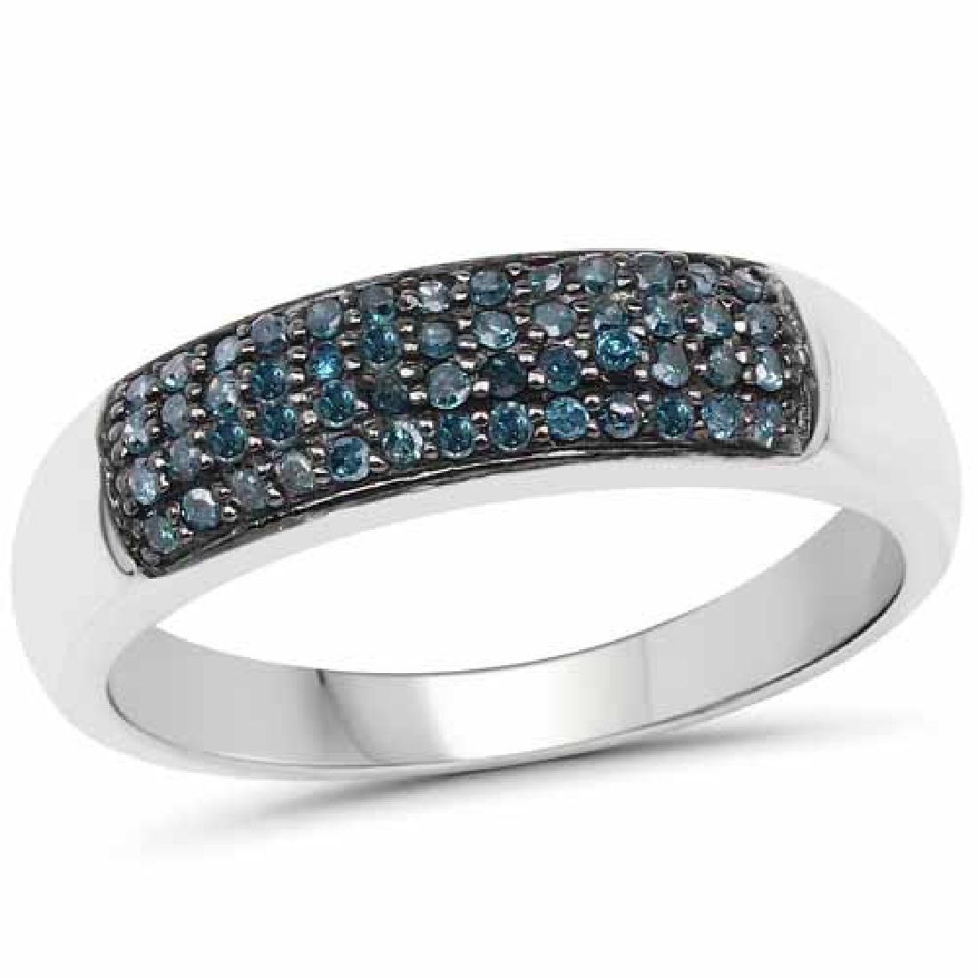 0.22 Carat Genuine Blue Diamond .925 Sterling Silver Ri