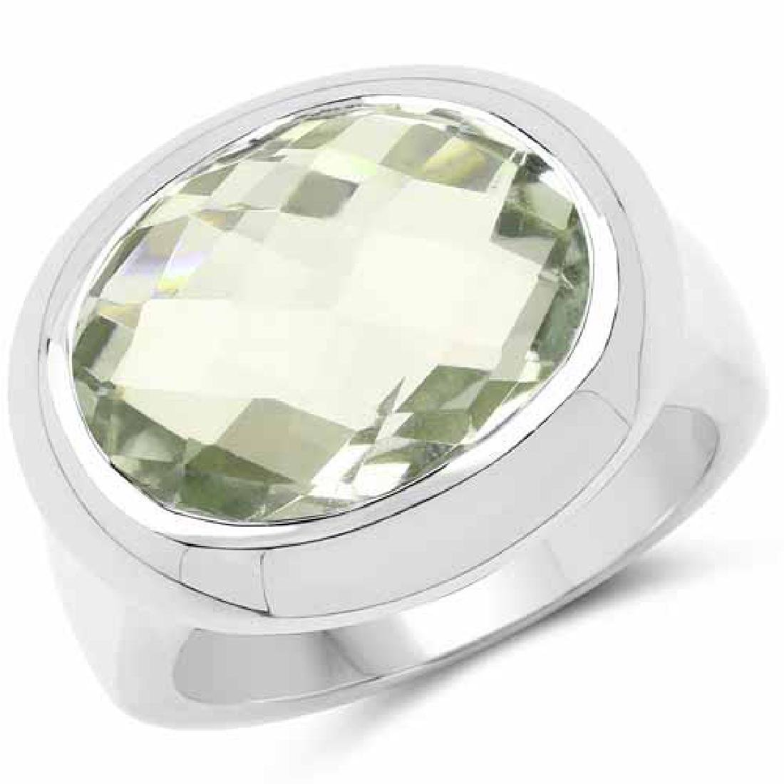 7.90 Carat Genuine Green Amethyst .925 Sterling Silver