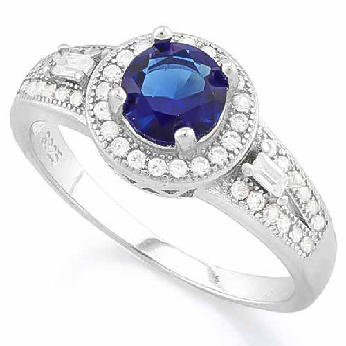 1 CARAT CREATED BLUE SAPPHIRE 925 STERLING SILVER HALO